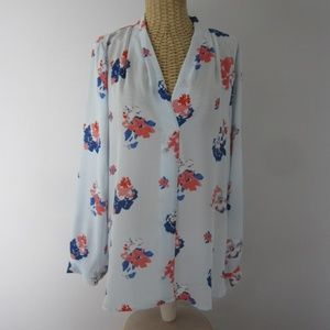 New Vince Camuto Medium Blue Coral LS Tunic Shirt